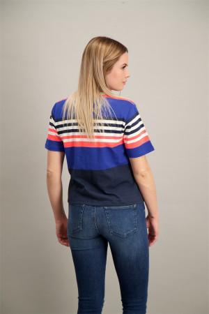 T-shirt court rayé avec logo brodé Tommy Hilfiger