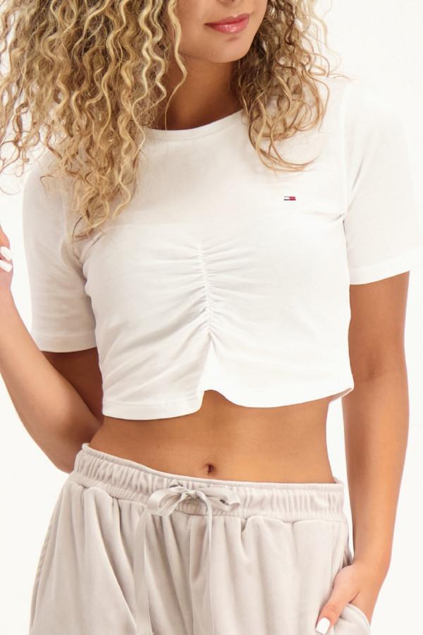 T-shirt court en coton fronces élastiquées devant Tommy Hilfiger