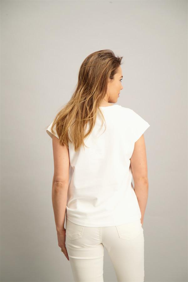 T-shirt uni avec strass en coton stretch BOBO Kocca