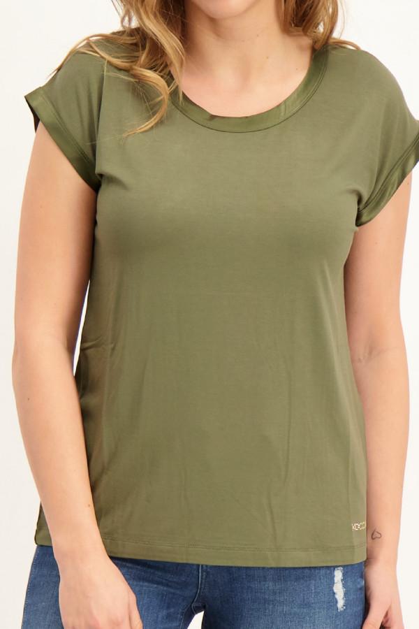T-shirt uni avec résille au dos et bords satinés Kocca