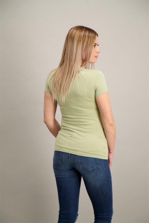 T-shirt uni en coton stretch avec logo en strass devant Guess