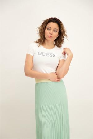 T-shirt uni basique en coton stretch avec logo Guess
