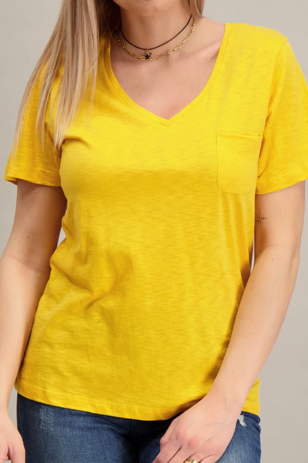 T-shirt chiné col V en matière flammée avec poche poitrine Superdry