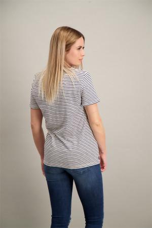 T-shirt rayé col V avec poche poitrine Superdry