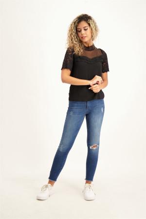 T-shirt uni avec dentelle et résille manches courtes DANY Morgan