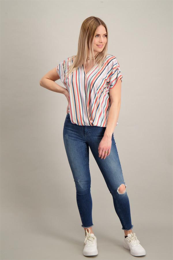T-shirt rayé avec lurex col cache-cœur base élastiquée Amélie & Amélie