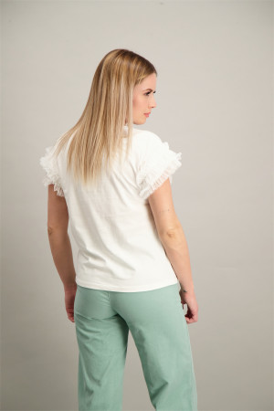 T-shirt uni avec volants en tulle aux manches Amélie & Amélie