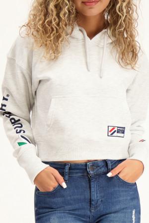 Sweat uni court à capuche avec poche et logo sur la manche Superdry