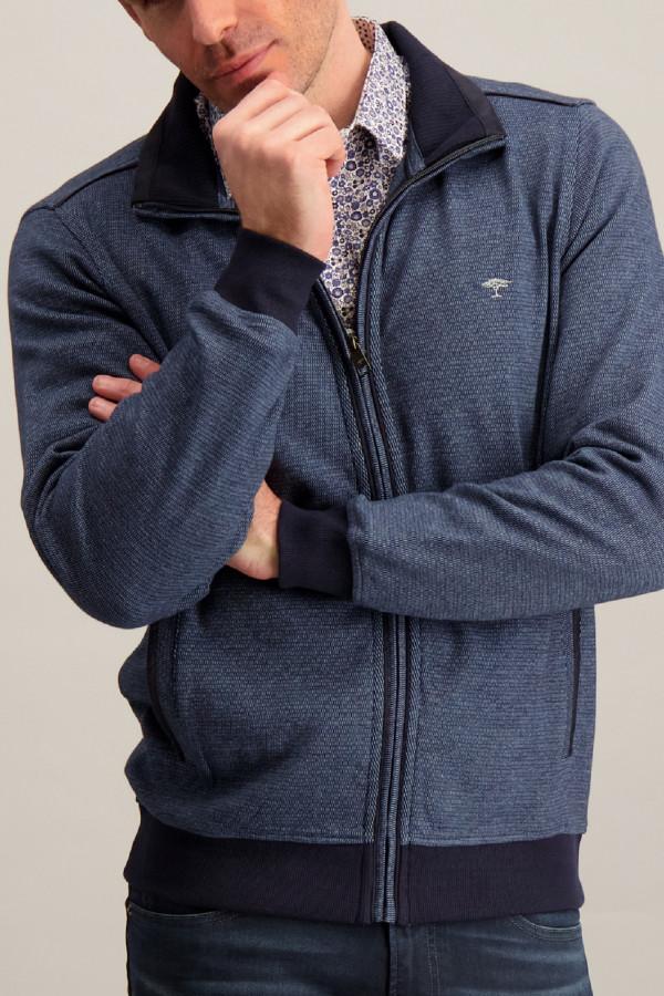 Cardigan zippé chiné bords contrastants côtelés Fynch Hatton
