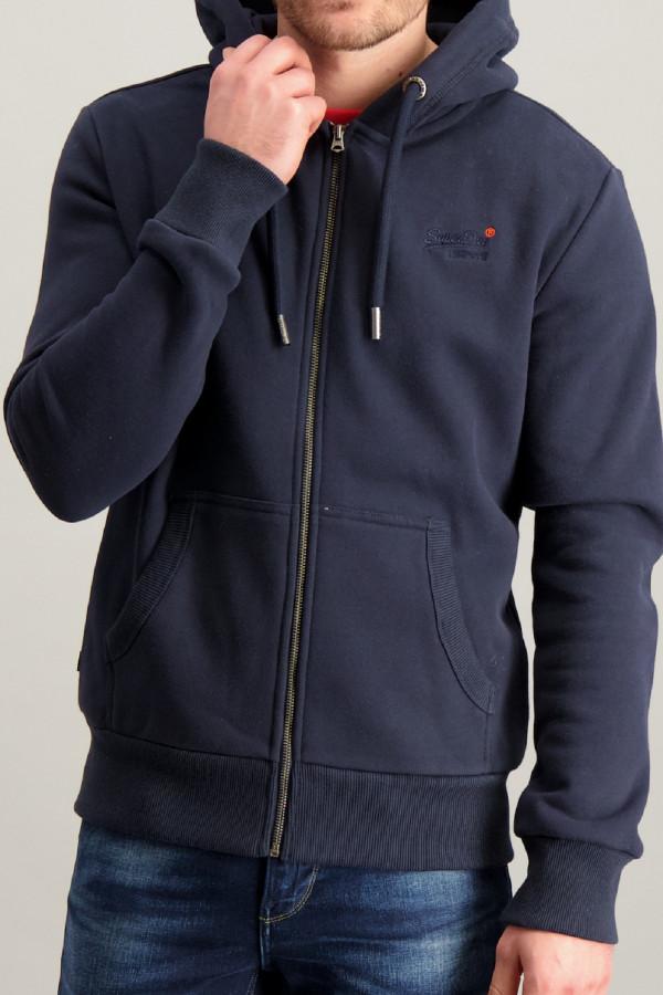 Cardigan uni à capuche avec poches et logo brodé Superdry