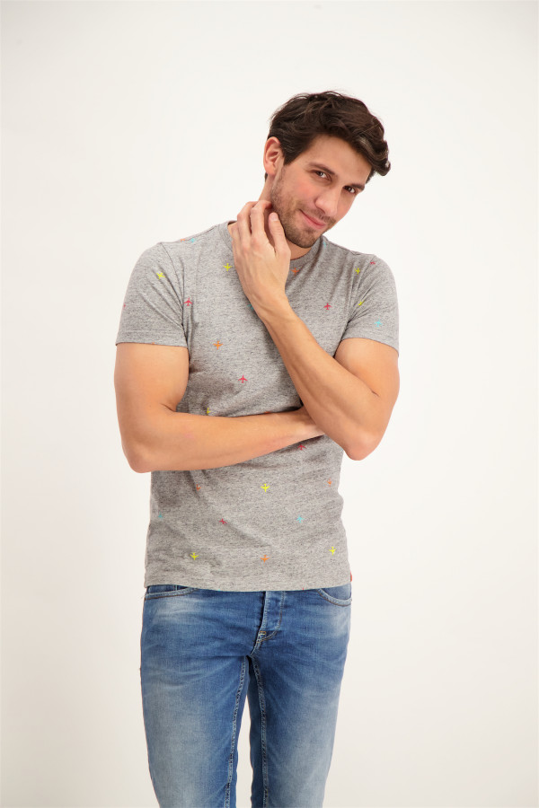 099b31dbb8ca7 T-shirt chiné avec imprimé et applique devant S. Oliver