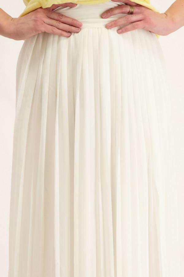 Jupe longue unie plissée en voile avec élastique au dos Vila