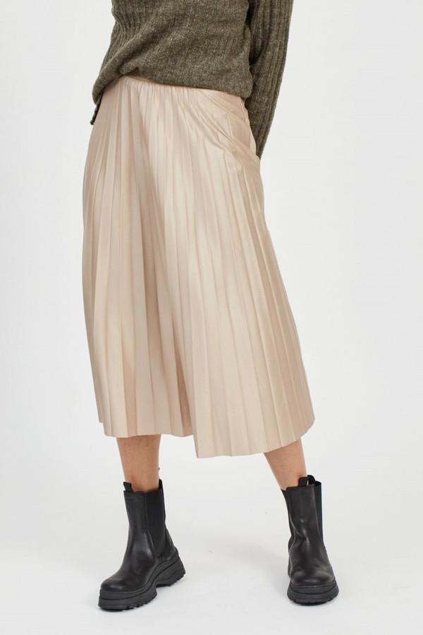 Jupe unie mi-longue plissée avec taille élastique NITBAN Vila