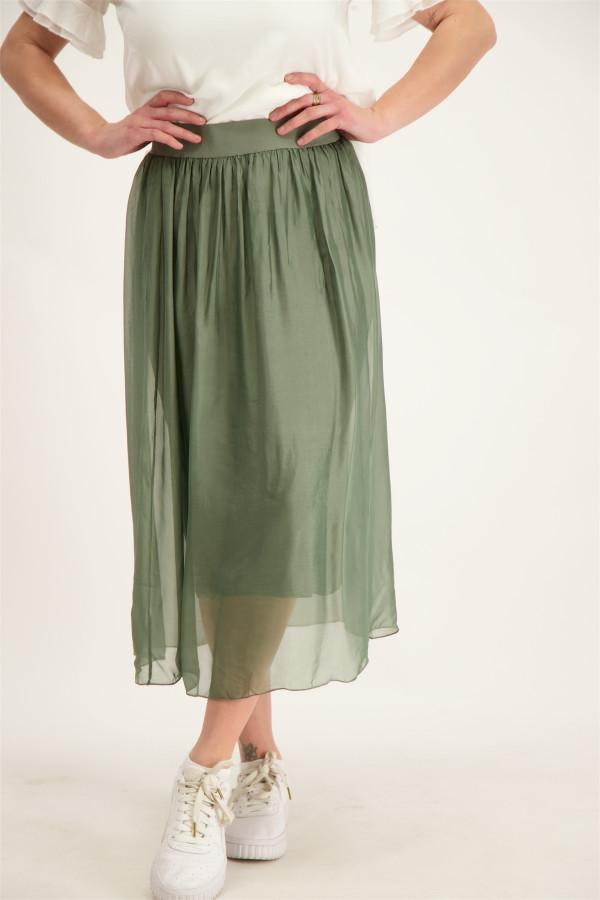 Jupe en voile unie mi-longue froncée avec taille élastique Geisha