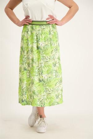 Jupe mi-longue imprimé feuillage avec taille élastique Geisha
