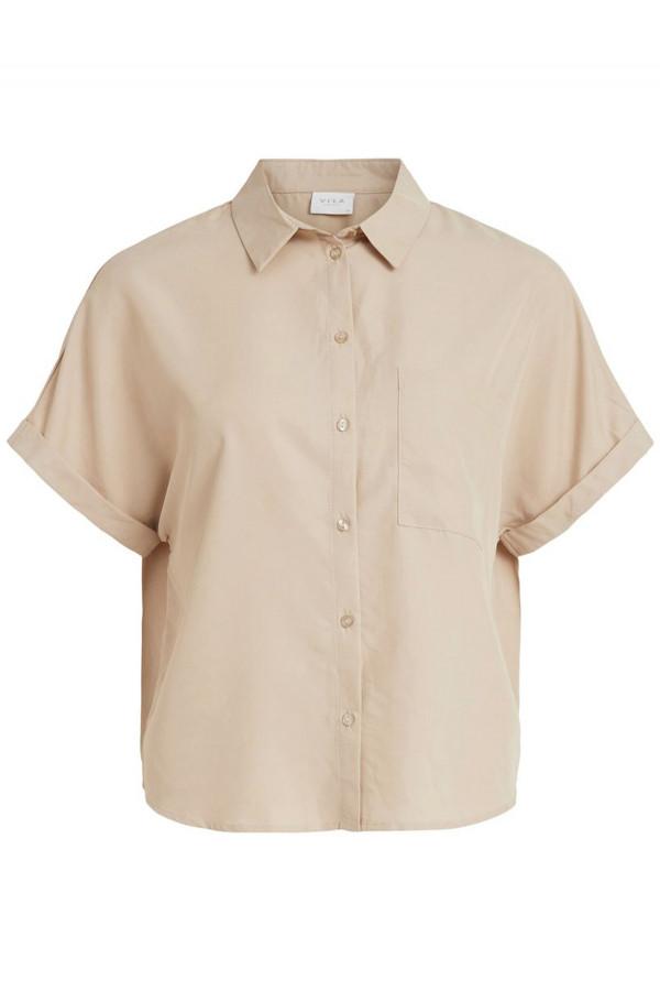 Chemisier uni ample boutonné avec poche poitrine BASU Vila