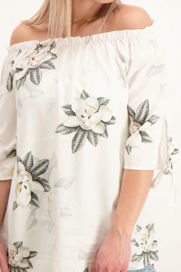 Blouse fleurie épaules dénudées manches 3/4 avec nœud Geisha
