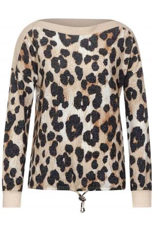 Pull en fine maille imprimé léopard avec noeud dans le bas Street One