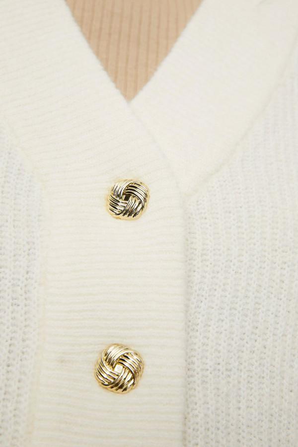 Cardigan uni en maille avec boutons dorés manches 3/4 Vero Moda