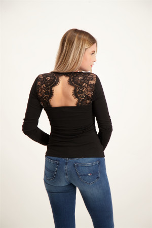 T-shirt uni stretch manches longues avec dentelle au dos ANA Vero Moda