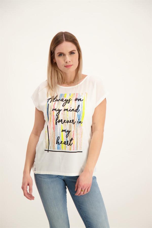 T-shirt bi-matière imprimé devant avec découpes Geisha