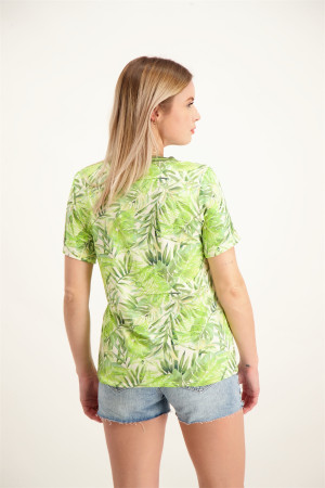 T-shirt col V imprimé feuillage manches courtes Geisha