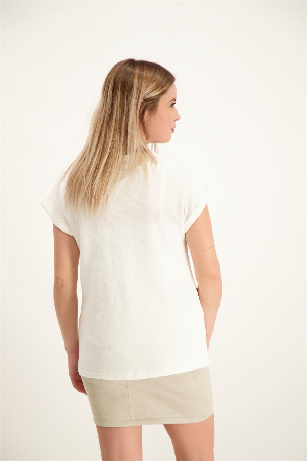 T-shirt uni col V matière structurée VERONA Soyaconcept