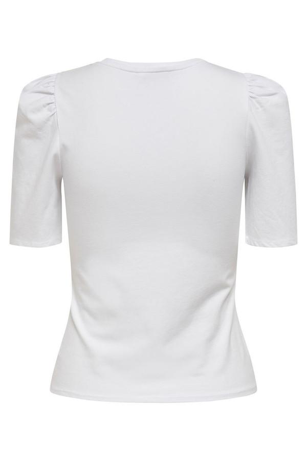 T-shirt uni en coton stretch avec fronces aux épaules LIVE Only