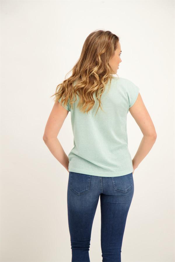 T-shirt uni avec lurex manches courtes SILVERY Only