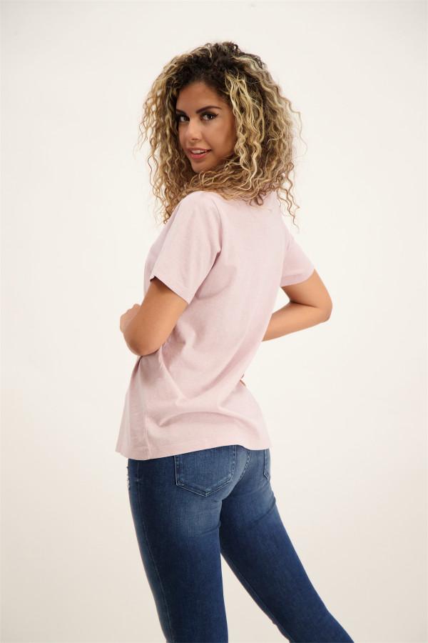 T-shirt chiné en coton avec logo à la poitrine Superdry