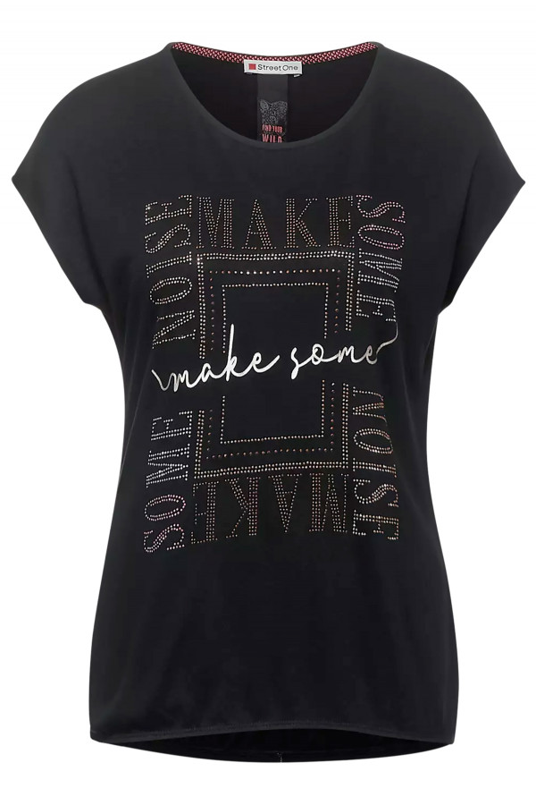 T-shirt à courtes manches avec strass devant et base élastiquée Street One