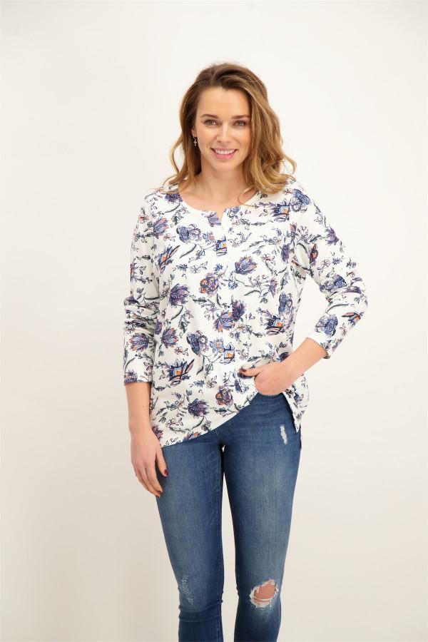 T-shirt imprimé fleuri manches longues en coton mélangé Cecil