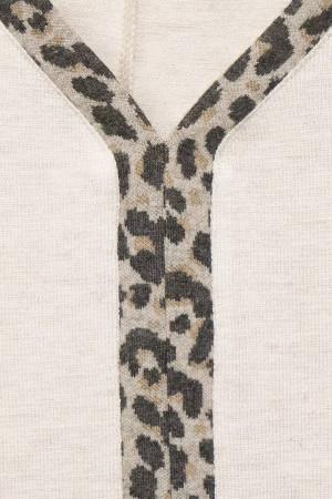 Pull ample uni avec bais léopard devant manches 3/4 Street One