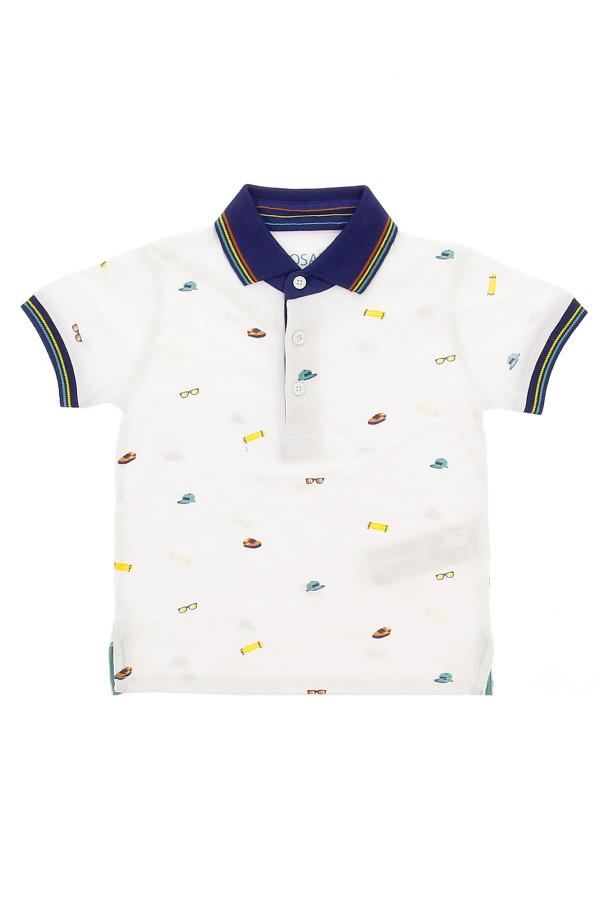 Polo en coton avec motifs imprimés et bords rayés Losan