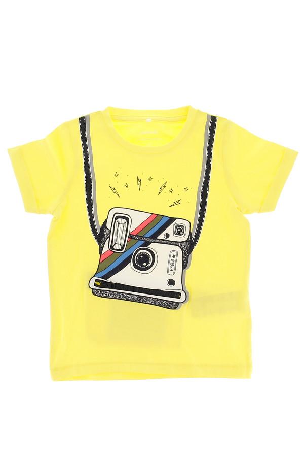 T-shirt uni en coton stretch avec impression devant FAKKO Name It