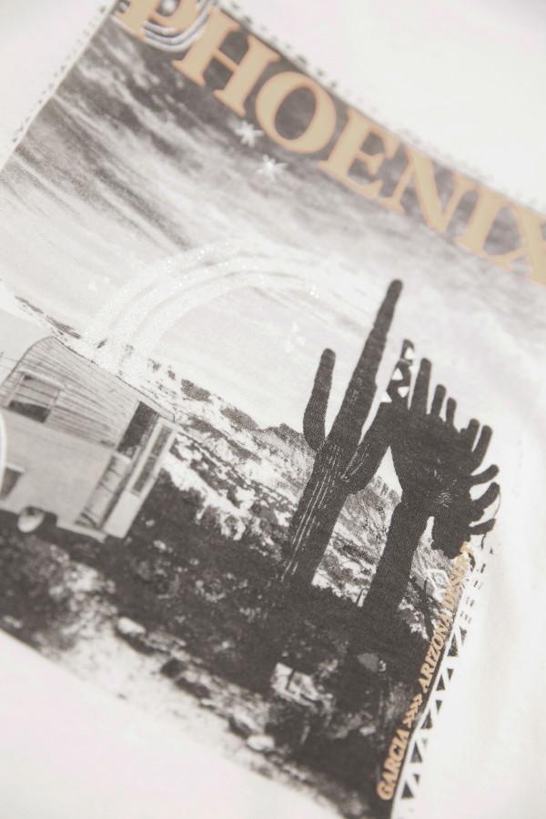 T-shirt uni avec impression sur le devant Garcia