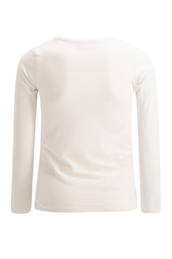 T-shirt manches longues uni avec logo pailleté Guess