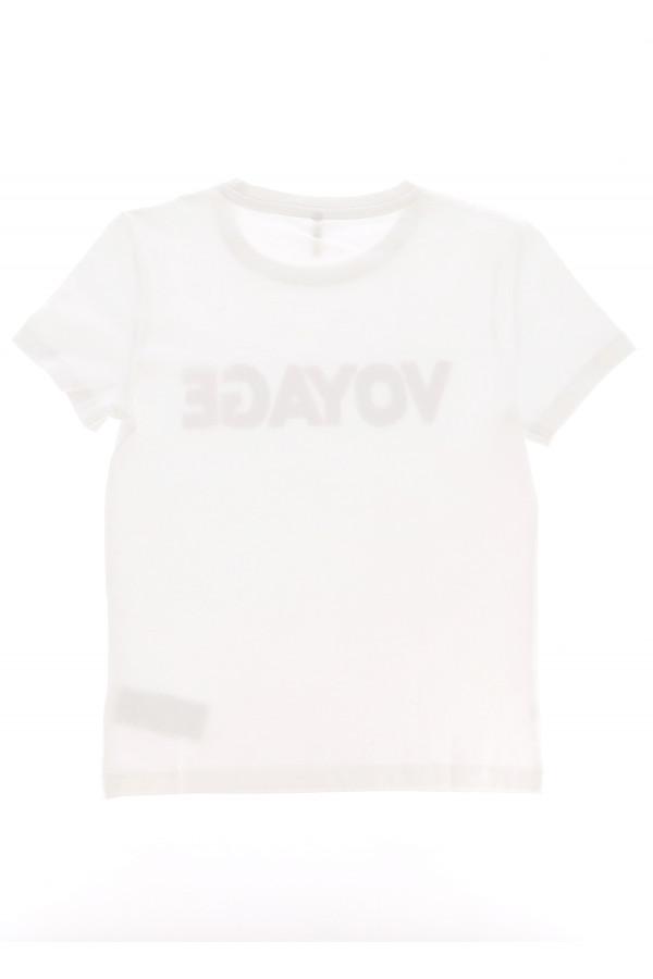 T-shirt uni en coton avec écriture en lurex devant VOYAGE Only Kids