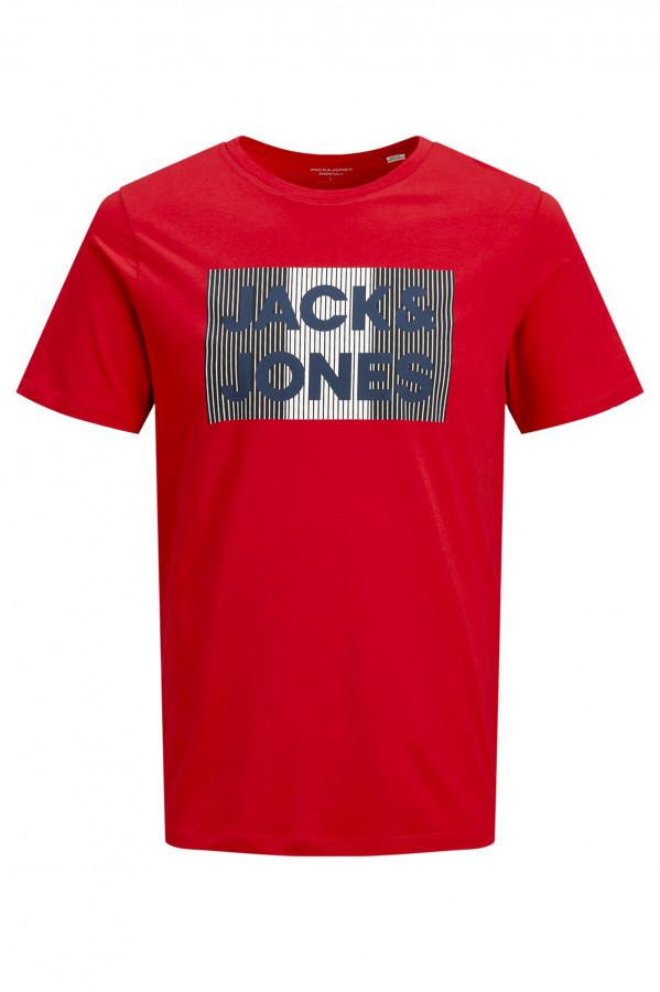 T-shirt uni avec impression sur le devant en coton Jack & Jones
