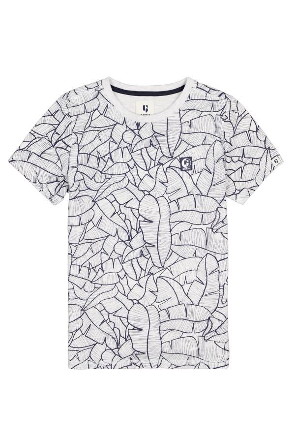 T-shirt en coton avec feuilles imprimées sur l'ensemble Garcia