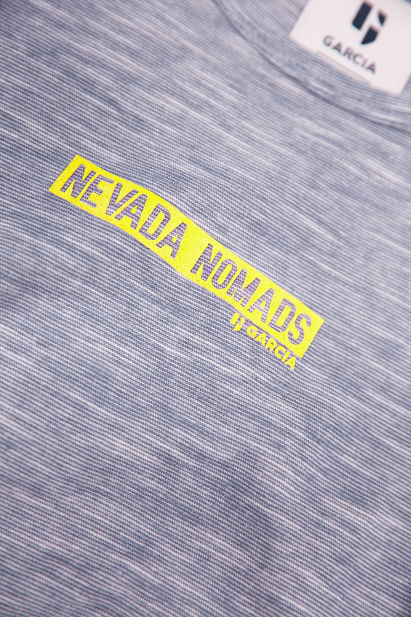 T-shirt chiné en coton avec inscription devant Garcia