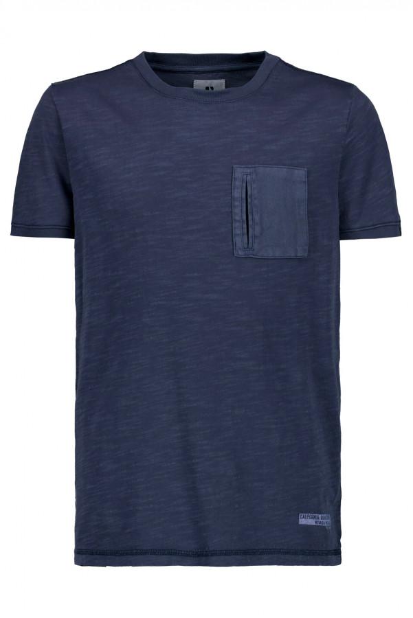T-shirt uni en coton flammé avec poche poitrine Garcia