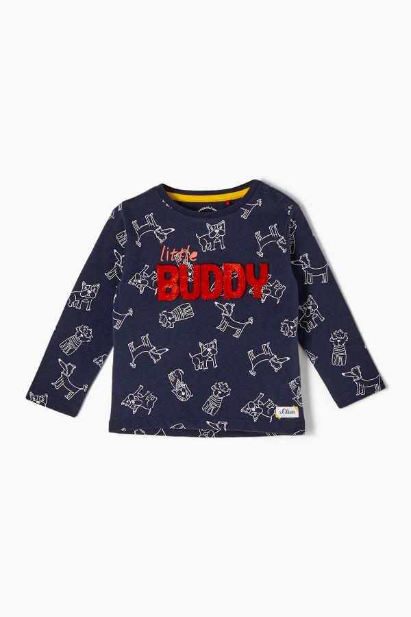 T-shirt imprimé sur l'ensemble avec applique en coton S.Oliver