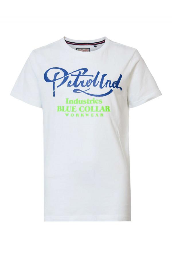 T-shirt en coton avec impression devant Petrol