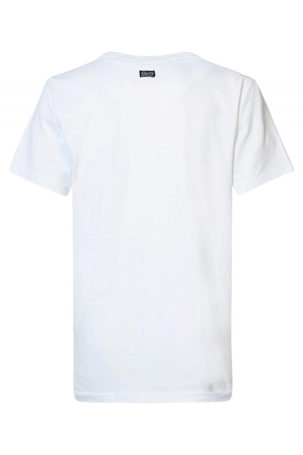 T-shirt en coton avec impression et logo devant Petrol