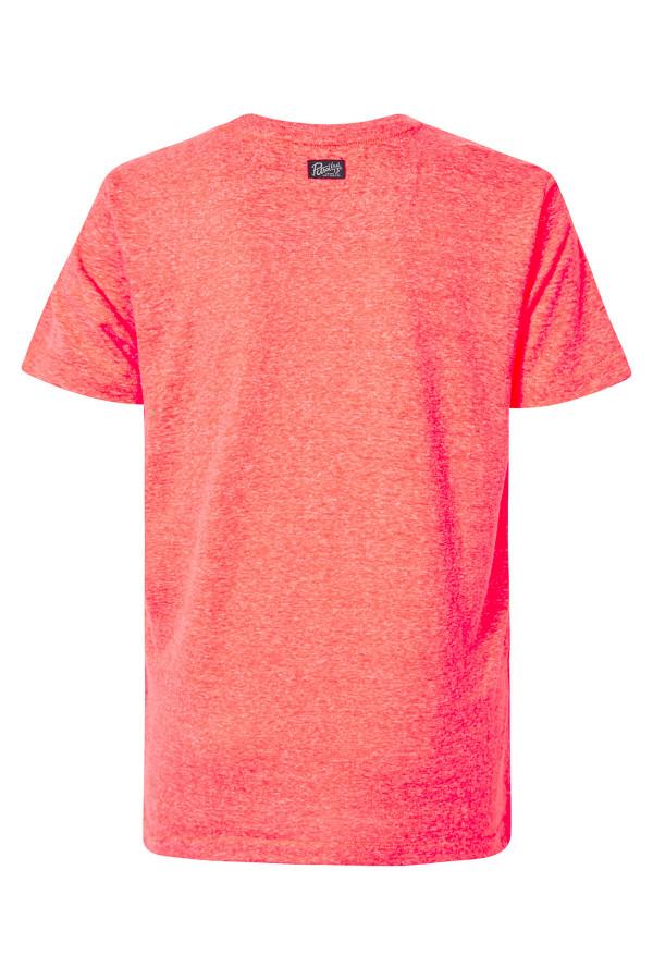 T-shirt chiné avec impression devant manches courtes Petrol