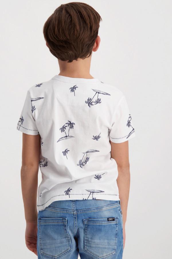 T-shirt uni avec impression palmiers en coton RUTHER Cars Jeans