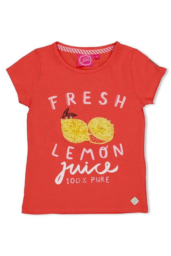 T-shirt en coton stretch citrons appliqués devant Jubel