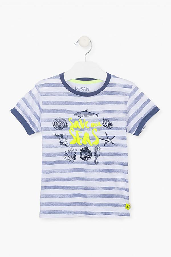 T-shirt stretch rayé motifs marins imprimés devant Losan