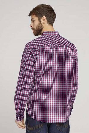 Chemise à carreaux en coton manches longues Tom Tailor